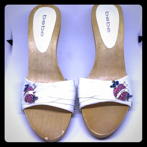 9d5ef2b13cb Jennifer White Leather Bebe Heels